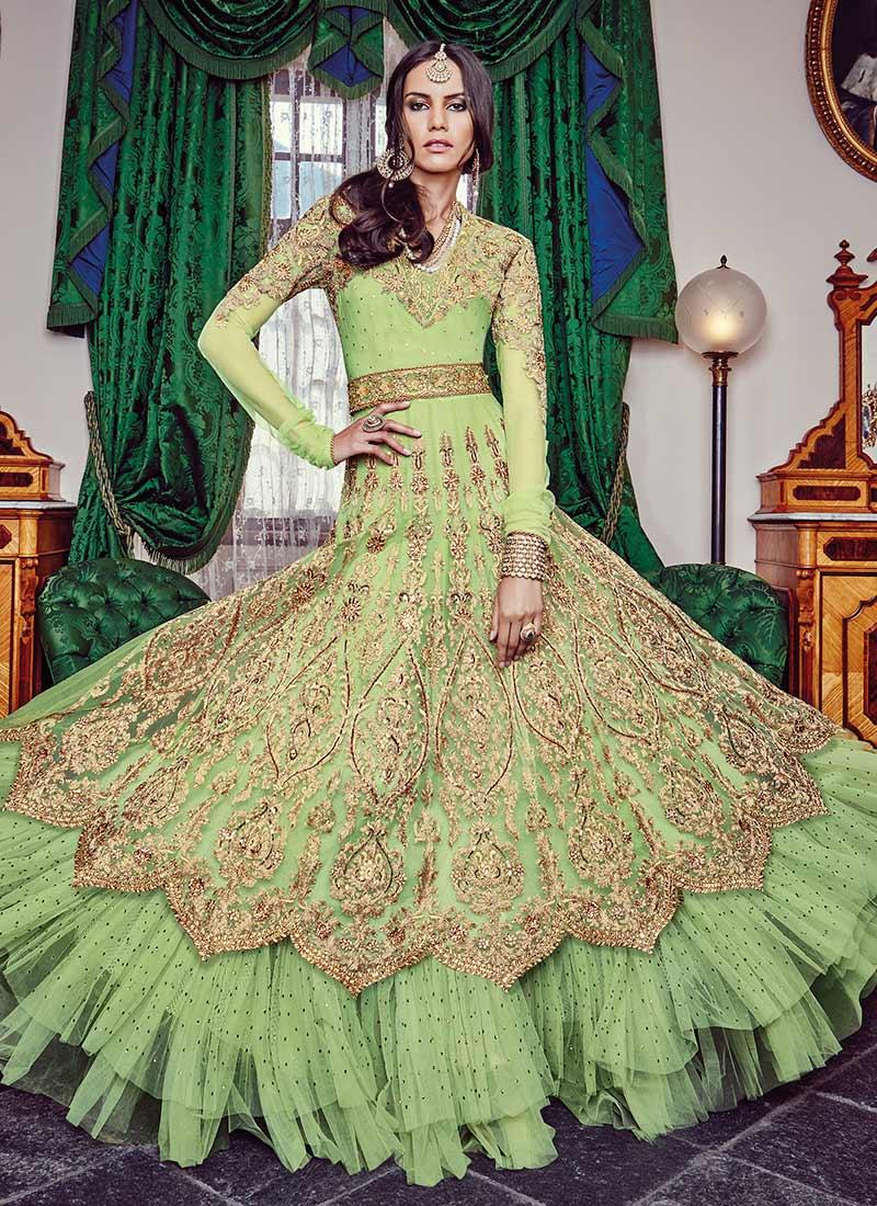 Buy Pista Green Net Floor Length Anarkali Suit ...