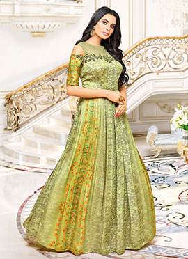 Pista Green Satin Muslin Dress
