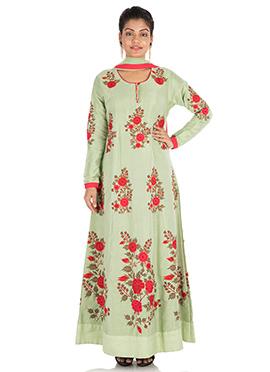 Pista Green Silk Anarkali Suit