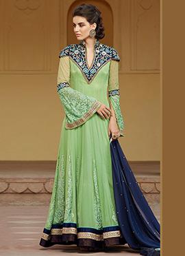 Pista Green Soft Net Anarkali Suit