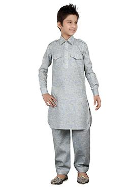 Pista Grey Kids Kurta Pyjama