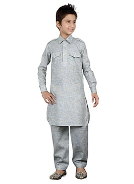 Pista Grey Teens Kurta Pyjama