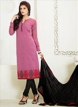 Pleasant Mauve Chanderi Cotton Straight Suit