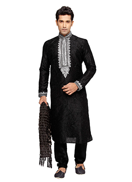 Plus Size Black Embroidered PRDP Kurta Pyjama