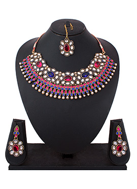 Polki N Moti Studded Multicolored Necklace Set