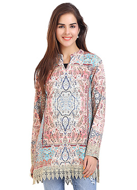 Polyester Multicolored Short Kurti