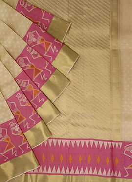 Pothys Beige Kancheepuram Pure Silk Saree
