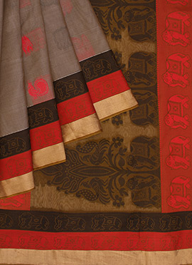Pothys Grey Pure Handloom Kancheepuram Silk saree