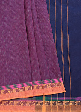 Pothys Magenta N Blue Blended Cotton Saree