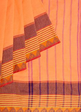 Pothys Orange Art Silk Cotton Saree