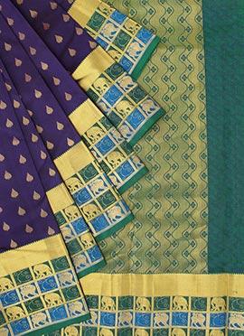 Pothys Violet Kancheepuram Pure Silk Saree