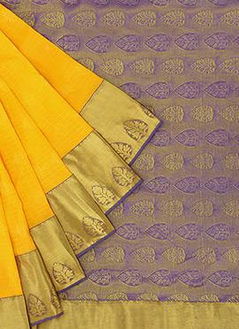 Pothys Yellow Kancheepuram Art Silk Saree