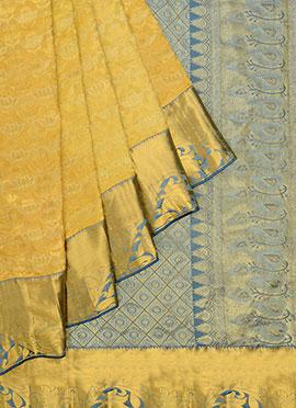 Pothys Yellow Kancheepuram Pure Silk Saree