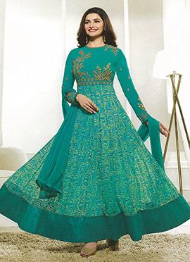 Prachi Desai Aqua Blue Georgette Abaya Style Anarkali suit