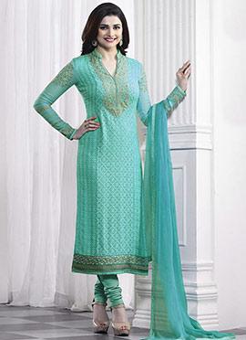 Prachi Desai Aqua Green Georgette Straight Suit