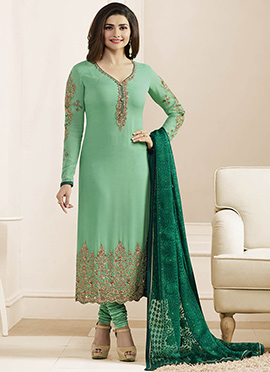 Prachi Desai Aqua Green Georgette Straight Suit