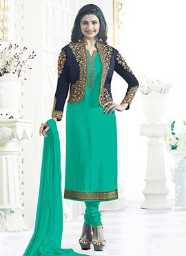 Prachi Desai Aqua Green Jacket Style Churidar Suit