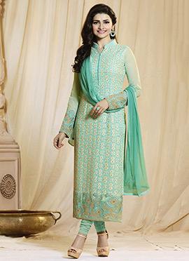 Prachi Desai Aqua Green Straight Suit