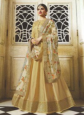 Prachi Desai Beige Embroidered Anarkali suit