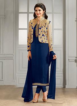 Prachi Desai Beige N Blue Georgette Straight Suit
