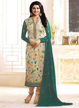 Prachi Desai Beige N Green Georgette Churidar Suit