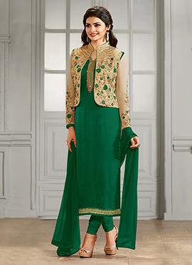 Prachi Desai Beige N Green Straight Suit