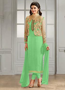 Prachi Desai Beige N Light Green Straight Suit