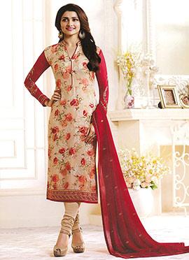 Prachi Desai Beige N Red Georgette Churidar Suit