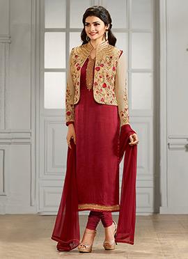Prachi Desai Beige N Red Straight Suit