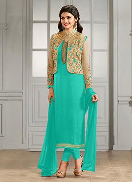 Prachi Desai Beige N Turquoise Straight Suit