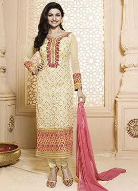 Prachi Desai Beige Straight Suit