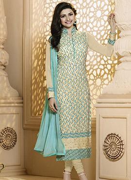Prachi Desai Light Yellow Straight Suit