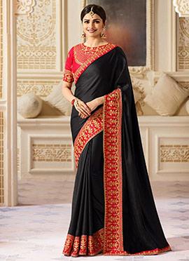Prachi Desai Black Art Silk Saree