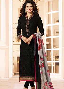 Prachi Desai Black Straight Suit