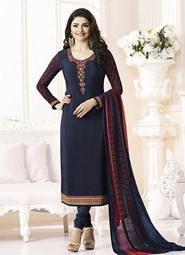 Prachi Desai Blue Crepe Pakistani Straight Suit