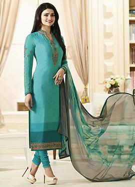 Prachi Desai Blue Crepe Straight Suit