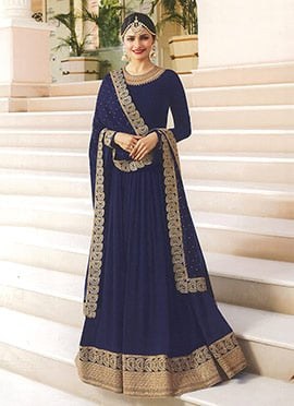 Prachi Desai Blue Embroidered Anarkali suit