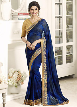 Prachi Desai Blue Border saree