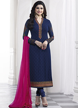 Prachi Desai Blue Georgette Straight Suit