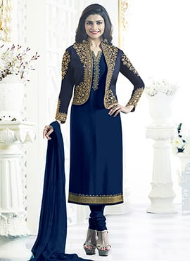 Prachi Desai Blue Jacket Style Churidar Suit