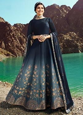 6692c31750b Prachi Desai Blue N Grey Art Silk Anarkali Suit