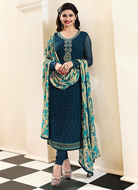 Prachi Desai Blue Shade Straight Suit