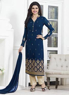 Prachi Desai Blue Straight Pant Suit