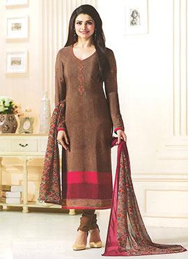 Prachi Desai Brown Crepe Straight Suit