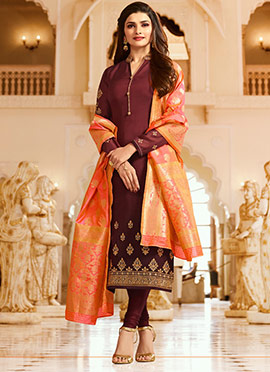 Prachi Desai Brown Embroidered Straight Suit