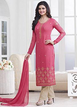 Prachi Desai Coral Pink Straight Pant Suit