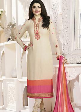 Prachi Desai Cream Crepe Pakistani Stright Suit