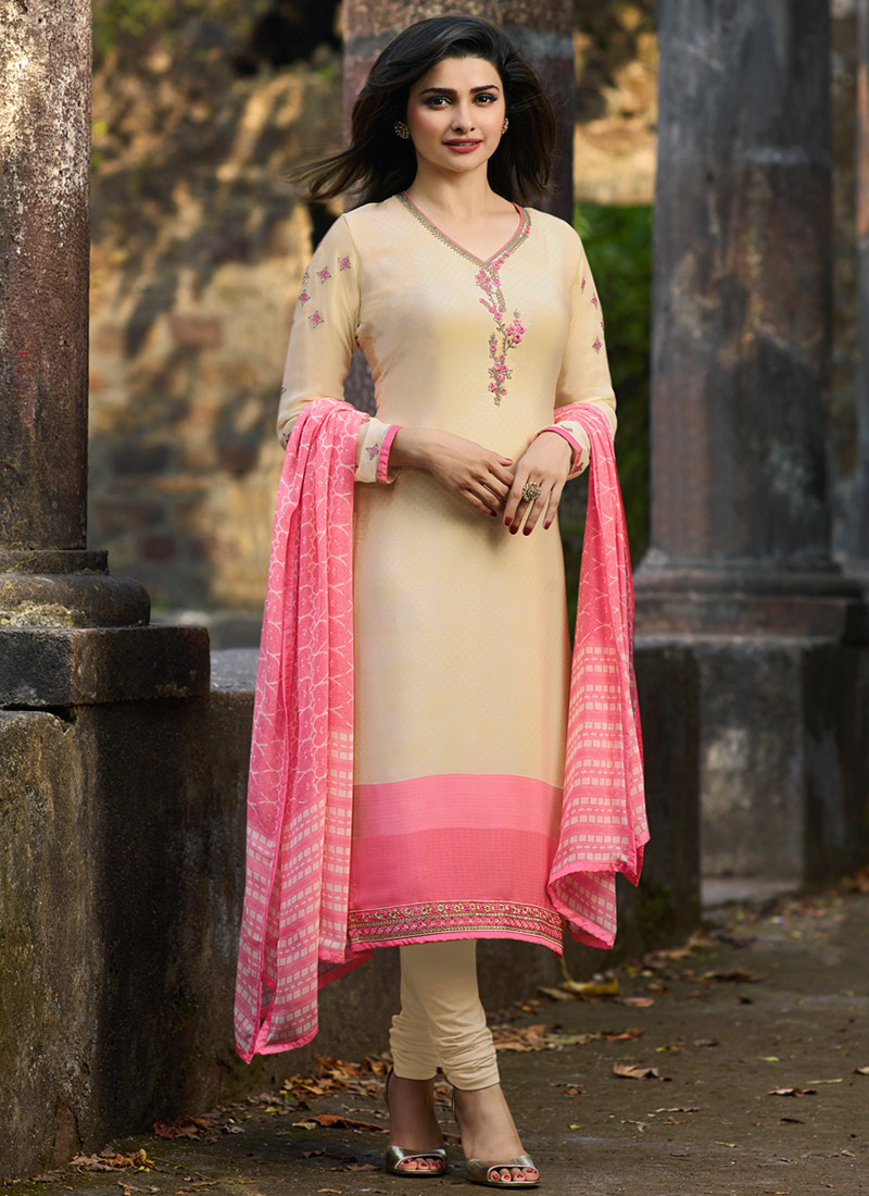 453e43413b1 Buy Prachi Desai Cream Embroidered Straight Suit