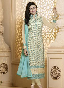 Prachi Desai Cream Georgette Straight Suit