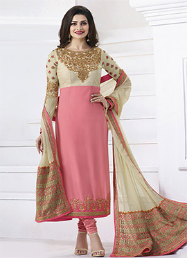 Prachi Desai Cream N Pink Georgette Straight Suit